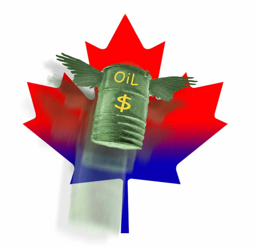 Illustration Canadian Drilling by John Camejo for The Washington Times