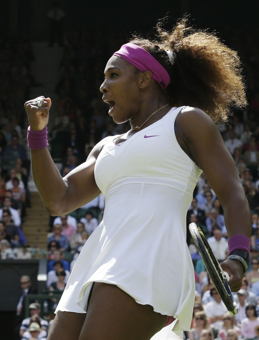 Serena Williams defeated Victoria Azarenka in their semifinal match at Wimbledon on Thursday, July 5, 2012. (AP Photo/Anja Niedringhaus)