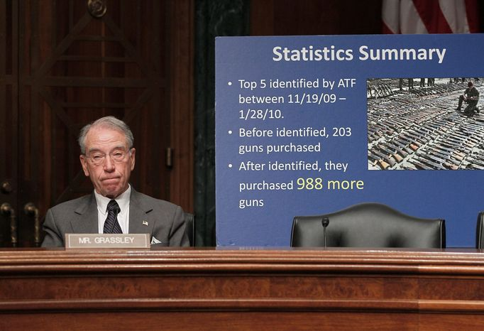 Sen. Chuck Grassley, Iowa Republican, said the possibility exists that Justice Department officials were aware of a memo from an ATF agent in Phoenix on Feb. 3 and still sent its erroneous denial letter Feb. 4. The latter was later disavowed. (Associated Press)