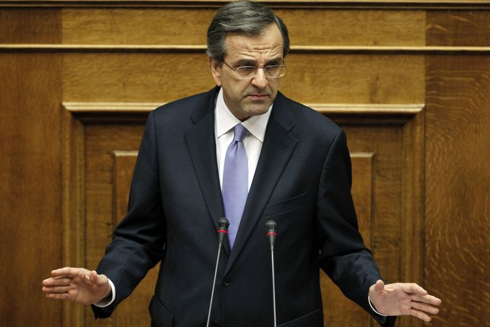 New Greek Prime Minister Antonis Samaras presents his government's policy platform July 6, 2012, at the parliament in Athens. (Associated Press)