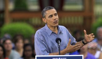 **FILE** President Obama speaks July 5, 2012, at James Day Park in Parma, Ohio. (Associated Press)
