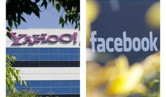 ** FILE ** This combination of 2012 file photos shows the logos of Yahoo, left, and Facebook, outside their offices in Santa Clara, Calif. and Menlo Park, Calif. The two companies have agreed to settle a patent dispute on Friday, July 6, 2012, averting a potentially bitter battle over the technology running two of the Internet's most popular destinations. (AP Photo/Paul Sakuma)