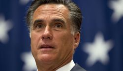 **FILE** Republican presidential candidate Mitt Romney speaks June 6, 2012, during a campaign stop at USAA insurance company in San Antonio. (Associated Press)