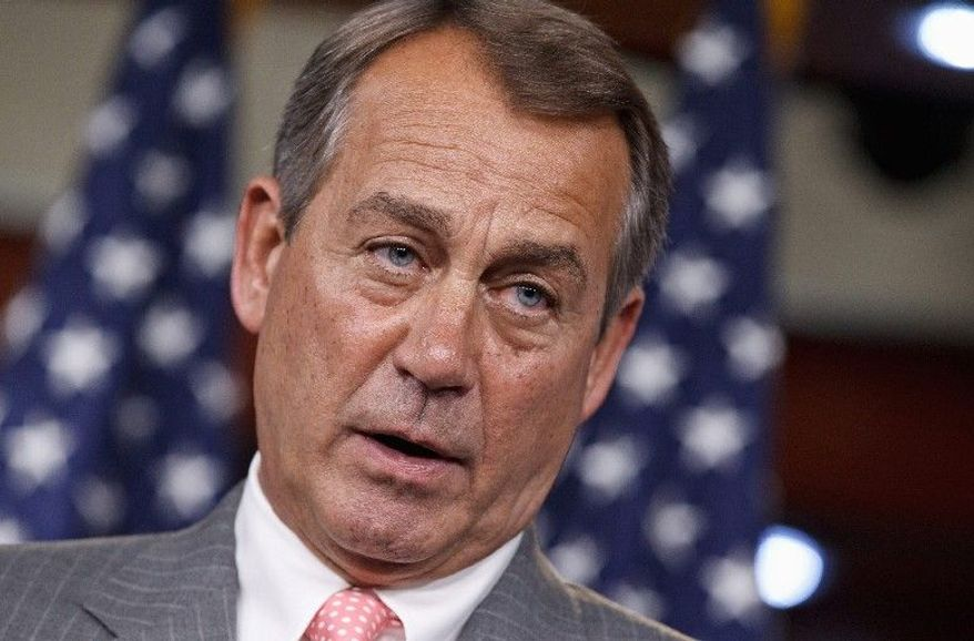 """House Speaker John A. Boehner frequently holds up a card embossed with a list of more than two dozen """"jobs"""" bills passed by the House to support his call for cooperation. (Associated Press)"""