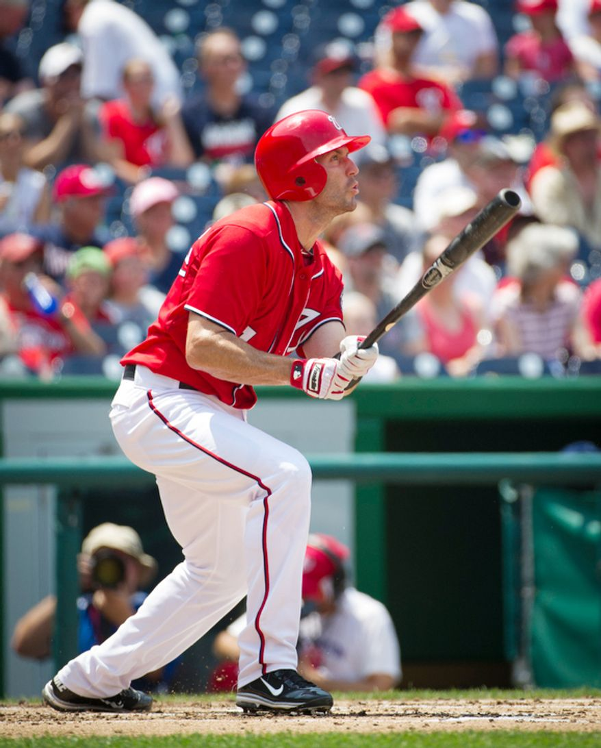 Nationals Steve Lombardozzi takes his turn at bat in the bottom of the third inning. (Rod Lamkey Jr./The Washington Times)