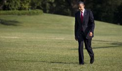 President Obama arrives July 6, 2012, on the South Lawn of the White House after campaigning for two days in Ohio and Pennsylvania. (Associated Press)
