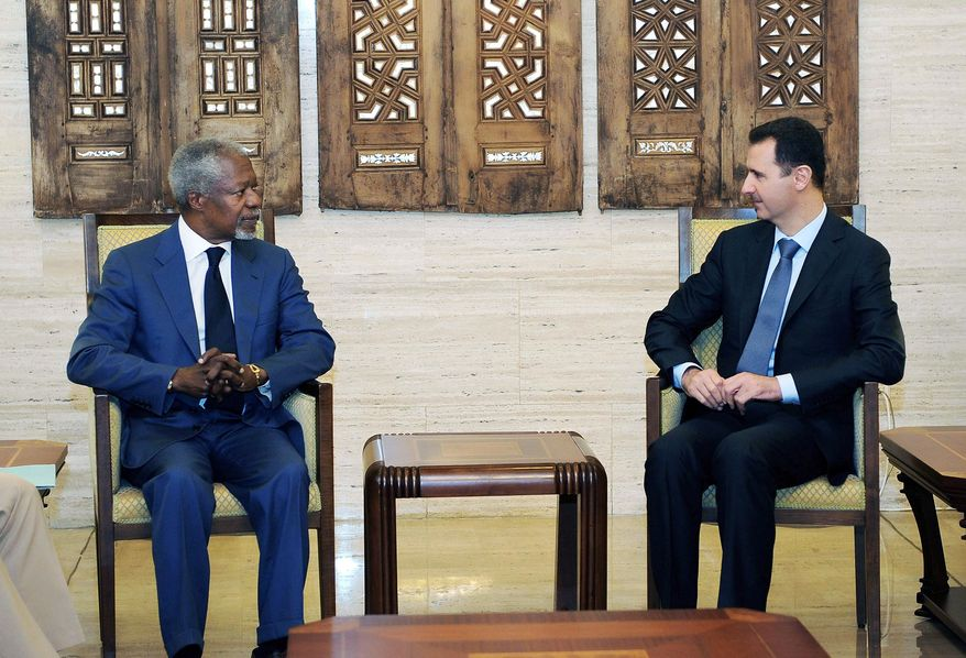 """Kofi Annan, United Nations-Arab League special envoy to Syria, met with Syrian President Bashar Assad in Damascus, Syria, on Monday. Mr. Annan said the two reached an understanding on a """"framework"""" for peace that will now be presented to opposition forces. (SANA photographs via Associated Press)"""