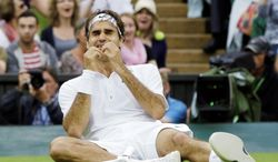 Roger Federer, who Sunday won his seventh Wimbledon championship, will be participating in his fourth Olympics when the London Games begin July 28. The tennis competition will be staged at the All England Club. (Associated Press)