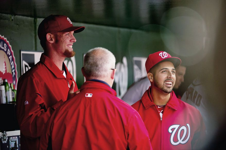 Gio Gonzalez (right) never seems to be at a loss for words, much to the amusement of fellow pitcher Stephen Strasburg (left). (Andrew Harnik/The Washington Times)