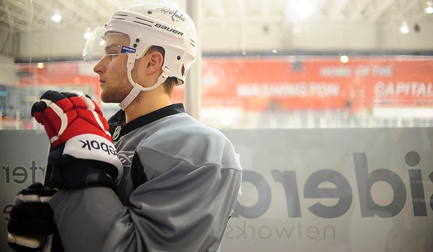 Nathan Walker waits to take the ice during the Capitals' development camp at the Kettler Capitals Iceplex in Arlington on Monday, July 9, 2012. (Ryan M.L. Young/The Washington Times)