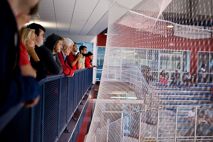 Fans watch a scrimmage during the Washington Capitals' development camp at the Kettler Capitals Iceplex in Arlington on Monday, July 9, 2012. (Ryan M.L. Young/The Washington Times)