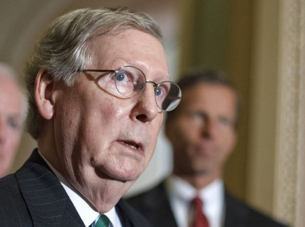 **FILE** Senate Minority Leader Mitch McConnell, Kentucky Republican, speaks to reporters on June 26, 2012, on Capitol Hill. (Associated Press)