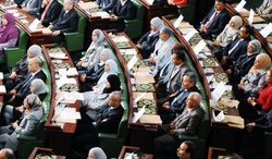 Members of Tunisia's newly elected assembly met for the first time in November, but the fledgling democracy is threatened by a weak opposition that isn't offering Tunisians a viable alternative to the parties in power. (Associated Press)