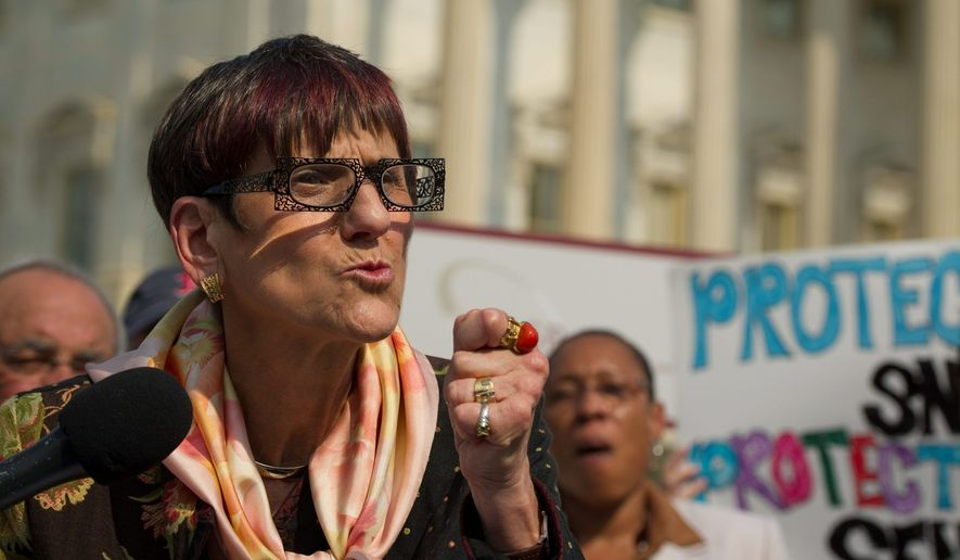 Rep. Rosa L. DeLauro, Connecticut Democrat, delivers an emotional speech Tuesday on Capitol Hill about passing the farm bill, which also funds food stamps. (Rod Lamkey Jr./The Washington Times)