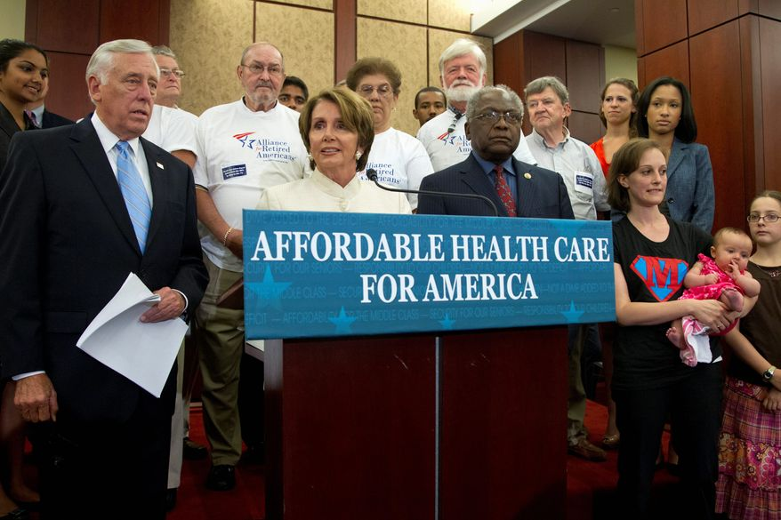 House Minority Leader Nancy Pelosi, California Democrat, is flanked by House Minority Whip Steny Hoyer of Maryland (left) and House Assistant Minority Leader James Clyburn of South Carolina after the House voted to repeal the Affordable Care Act. The Democrats appeared with supporters of the law who talked about how it has helped them. (Associated Press)