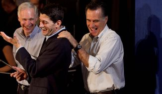 **FILE** Republican presidential candidate Mitt Romney (right) shares a laugh April 1, 2012, with Rep. Paul Ryan (center), Wisconsin Republican, and Sen. Ron Johnson, Wisconsin Republican, during a campaign event in Milwaukee. (Associated Press)
