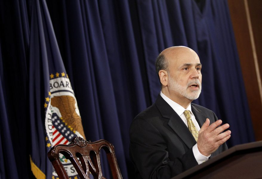 **FILE** Federal Reserve Board Chairman Ben S. Bernanke speaks June 20, 2012, during a news conference in Washington. (Associated Press)