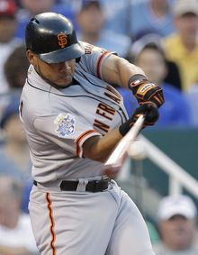National League's Melky Cabrera, of the San Francisco Giants, went 2-for-3 with a two-run home run in the NL's 8-0 win over the American League in the 2012 All-Star Game at Kauffman Stadium in Kansas City, Mo. (AP Photo/Charlie Riedel)