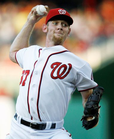 Stephen Strasburg has thrown 99 innings, and he has an innings cap of 160 that the Nationals will have to address, likely by early September. (AP Photo/Evan Vucci)