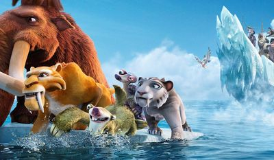 """20th Century Fox via Associated Press Characters voiced by (from left) Ray Romano, Denis Leary, John Leguizamo, Wanda Sykes and Jennifer Lopez fend off pirates in the animated sequel """"Ice Age: Continental Drift."""" Mr. Leary and Miss Lopez voice saber-toothed tigers in the film, which is the fourth in the decade-old franchise."""