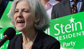In this Oct. 24, 2011, file photo, Jill Stein of Lexington, Mass., speaks during a news conference outside the Statehouse in Boston. (AP Photo/Elise Amendola) ** FILE **