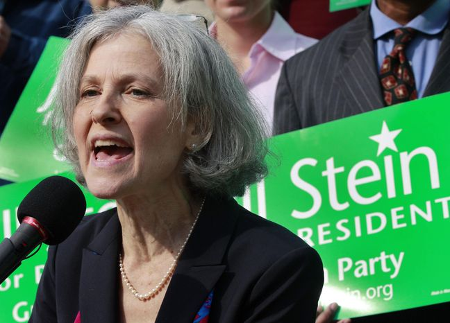 In this Oct. 24, 2011, file photo, Jill Stein of Lexington, Mass., speaks during a news conference outside the Statehouse in Boston. (AP Photo/Elise Amendola)