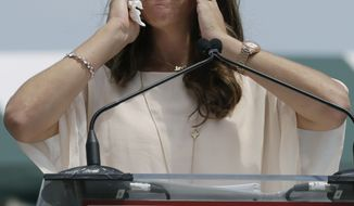 International Tennis Hall of Fame inductee Jennifer Capriati speaks during her induction ceremony in Newport, R.I., on Saturday, July 14, 2012. (AP Photo/Elise Amendola)