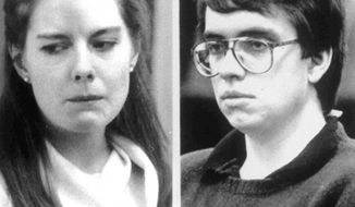 Combo picture, released June 25, 1990, of Elizabeth Haysom, left, and Jens Soering, who have been arrested for the murder of Elizabeth's parents at their home in Bedord County, Va. Image of Haysom is 1987 filer, and Soering is 1990 filer. (AP Photo)