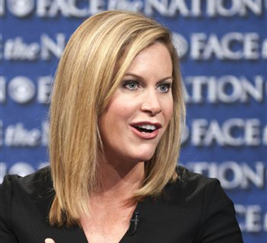 "Stephanie Cutter, deputy campaign manager for President Obama's 2012 re-election bid, appears on CBS' ""Face the Nation"" in Washington on Friday, July 15, 2012. (AP Photo/CBS, Chris Usher)"