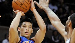 New York Knicks guard Jeremy Lin averaged 14.6 points and 6.2 assists last season. Among his highlights were a 38-point effort against the Lakers and a 28-point performance against the Mavericks. (Associated Press)