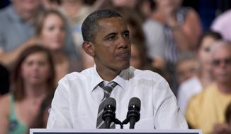 **FILE** President Obama speaks July 10, 2012, during a campaign event at Kirkwood Community College in Cedar Rapids, Iowa. (Associated Press)