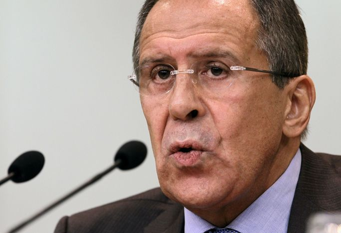 ** FILE ** Russian Foreign Minister Sergey Lavrov speaks at a news conference in Moscow on Monday, July 16, 2012. (AP Photo/Sergey Ponomarev)