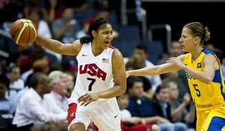 Maya Moore of the United States calls out a play while dribbling against Karla Cristina Martins Da Costa during an exhibition game between the U.S. national basketball team and Brazil at Verizon Center, Washington D.C., Monday, July 16, 2012.  (Ryan M.L. Young/The Washington Times)