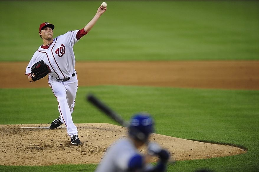 Ross Detwiler pitches during the Washington Nationals game against the New York Mets at Nationals Park, Washington D.C.,Tuesday, July 17, 2012.   (Ryan M.L. Young/The Washington Times)