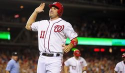 Ryan Zimmerman celebrates after scoring the walk off run off of a wild pitch by Pedro Beato in the bottom of the tenth inning during the Washington Nationals game against the New York Mets at Nationals Park, Washington D.C.,Tuesday, July 17, 2012.   (Ryan M.L. Young/The Washington Times)