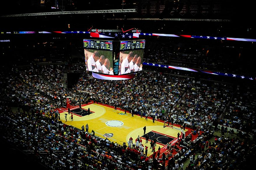 An overview of Verizon Center in D.C. is seen July 16, 2012, before an exhibition game between the U.S. men's basketball team and Brazil. (Ryan M.L. Young/The Washington Times)