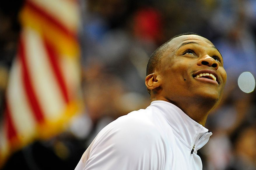 Team USA guard Russell Westbrook warms up before an exhibition game July 16, 2012, between the U.S. men's basketball team and Brazil at Verizon Center in D.C. (Ryan M.L. Young/The Washington Times)