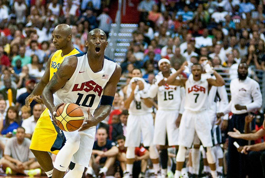 Team USA guard Kobe Bryant reacts to a call during an exhibition game July 16, 2012, between the U.S. men's basketball team and Brazil at Verizon Center in D.C. (Ryan M.L. Young/The Washington Times)
