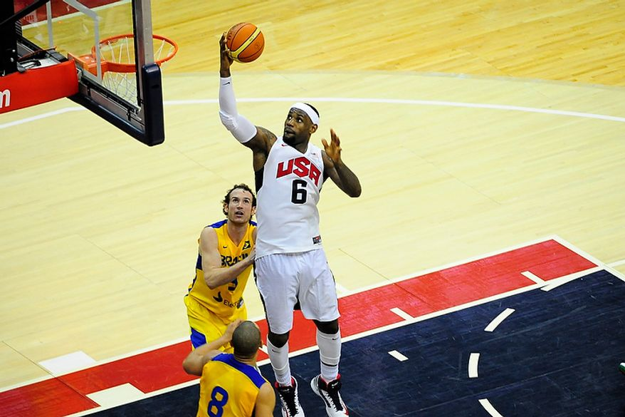 Team USA forward LeBron James (6) drives for a layup during an exhibition game July 16, 2012, between the U.S. men's basketball team and Brazil at Verizon Center in D.C. (Ryan M.L. Young/The Washington Times)