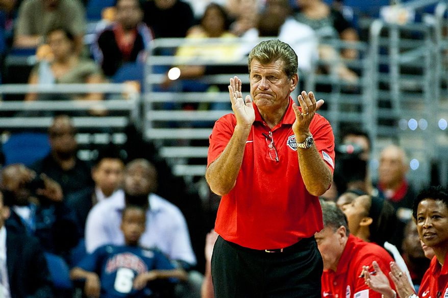Team USA head coach Geno Auriemma walks the sidelines during an exhibition game July 16, 2012, between the U.S. women's basketball team and Brazil at Verizon Center in D.C. (Ryan M.L. Young/The Washington Times)