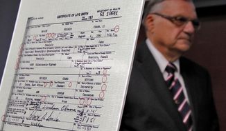 Maricopa County Sheriff Joe Arpaio exits after announcing July 17, 2012, in Phoenix that President Obama's birth certificate, as presented by the White House in April 2011, is a forgery based on an investigation by the Sheriff's office. (Associated Press)