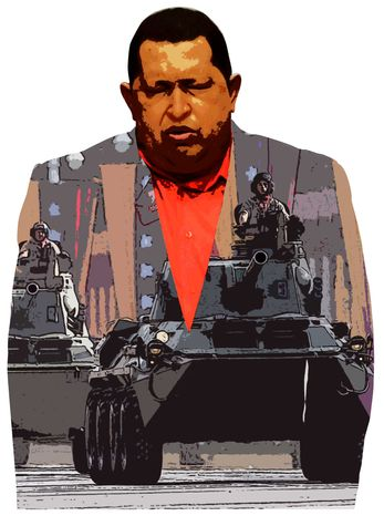Illustration Chavez's Threat by Greg Groesch for The Washington Times