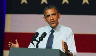 President Obama speaks July 17, 2012, at a fundraising event in Austin, Texas. (Associated Press)