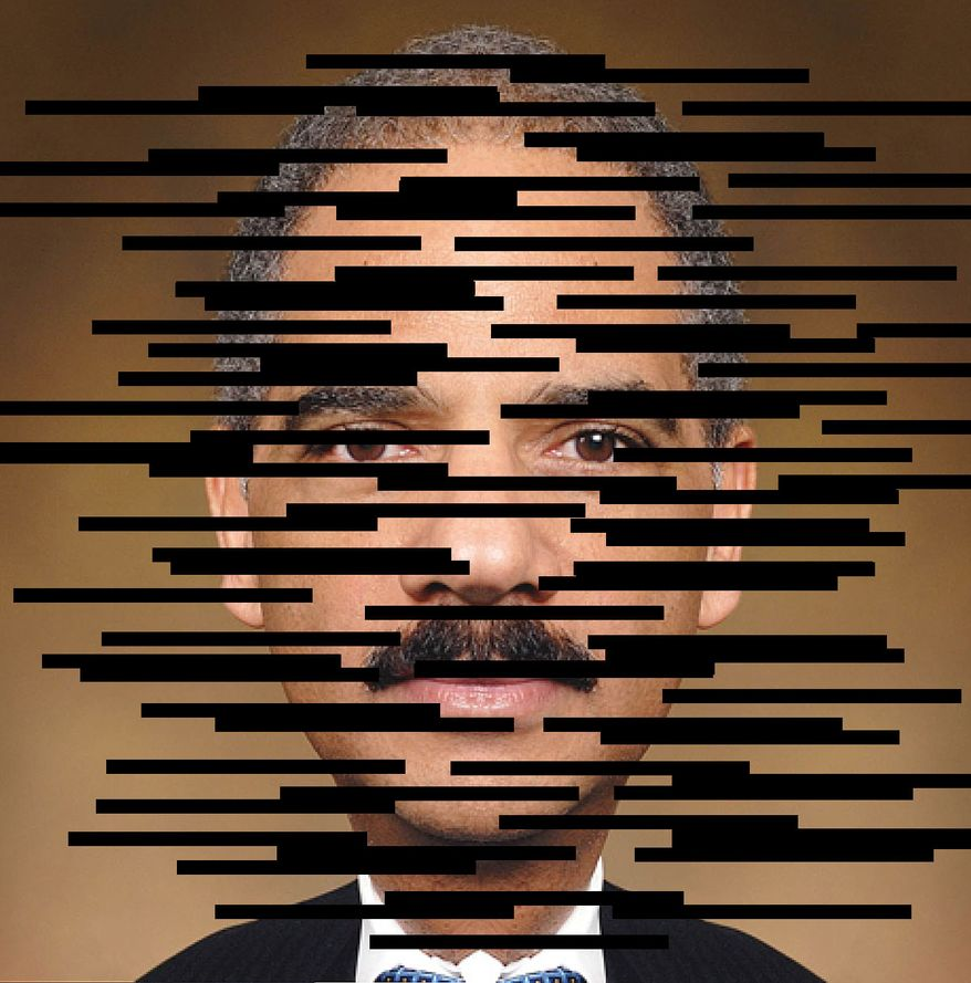 Illustration Eric Holder by Alexander Hunter for The Washington Times