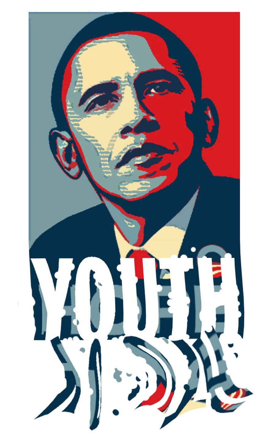 Illustration Obama for the Youth by Alexander Hunter for The Washington Times
