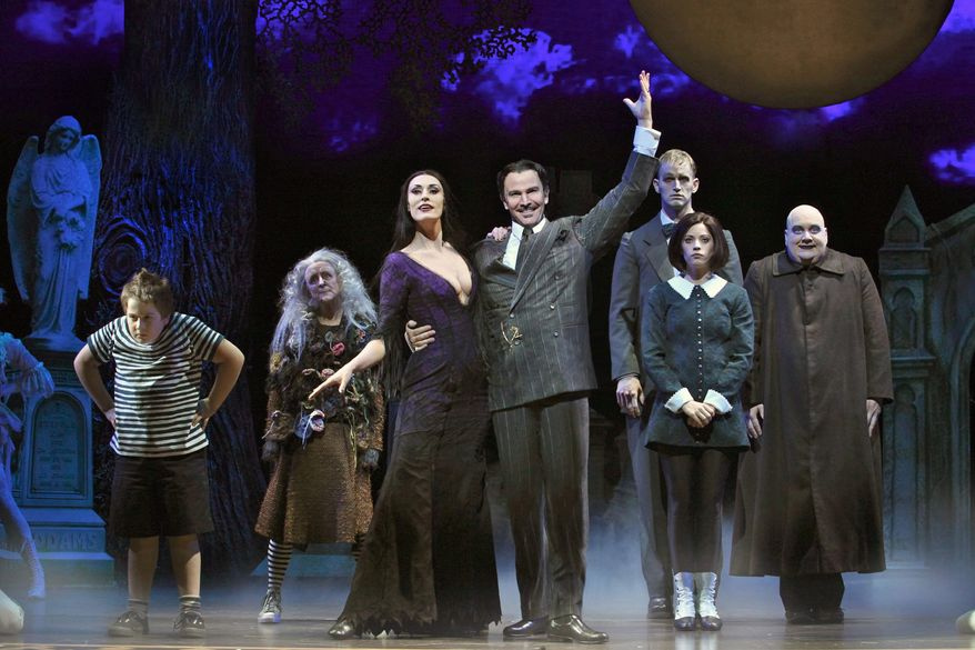 """The key to a successful staging of """"The Addams Family"""" is taking concrete characters and putting them in a foreign land. Marshall Brickman and Rick Elice did exactly that in the production playing at the Kennedy Center."""