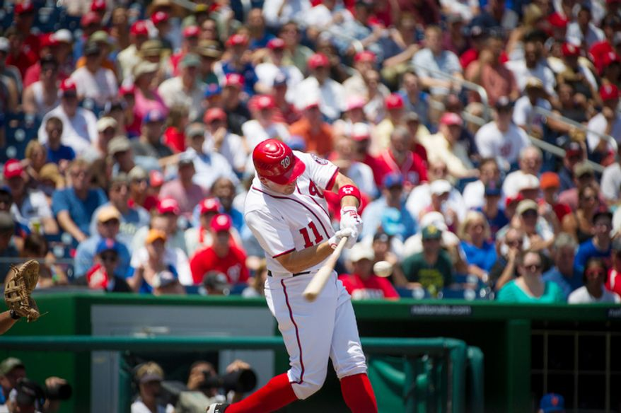 Nationals Ryan Zimmerman connects for a home run in the bottom of the first inning against the New York Mets. (Rod Lamkey Jr./The Washington Times)