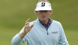 Brandt Snedeker gestures July 20, 2012, after finishing his second round at Royal Lytham & St Annes golf club of the British Open Golf Championship in England. (Associated Press)