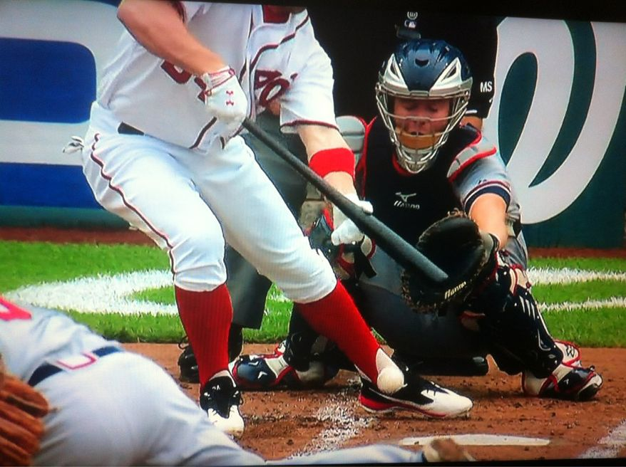 Screenshot of Bryce Harper fouling a ball off his left ankle/foot on Saturday. Image courtesy of @recordsANDradio, screenshot via MASN.