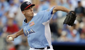 Washington Nationals pitching prospect Alex Meyer pitched for the United States in the All-Star Futures Game. (AP Photo/Jeff Roberson)